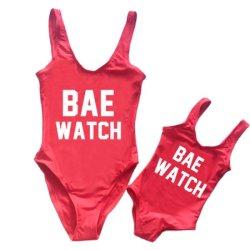 O verão Custom Pai-filho Kid nadar Vest sem mangas carta impressa Bae Assista a correspondência de familiares Swimsuit Mamãe bebê e me calções de banho