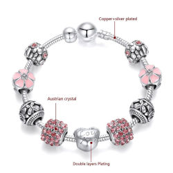 Custom Lucky Enamel Silver Charms Bijoux Bijoux femmes Bracelets Bangle
