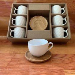 퓨어 화이트 파인 본 중국 커피 티 컵 세트 접시공예 상자