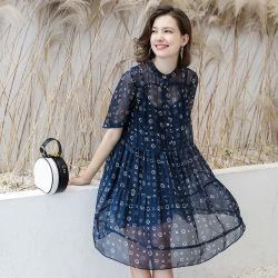 سيادات 100% صافية حريريّة ثوب اللون الأزرق طباعة مستديرة عنق فصل صيف ثوب