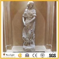 La figura de piedra de mármol blanco natural y la estatua de Animal/escultura para la decoración exterior
