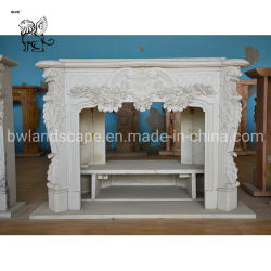 屋内Mfpc-01のための中国の製造者の贅沢で白い大理石の暖炉