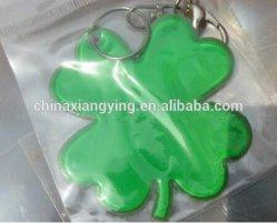 Promoción reflectante llavero, llave de PVC blando personalizado Cadena,, trébol de cuatro hojas llavero