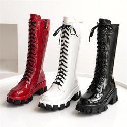 Zapatos mujer Zapatos de damas de encaje hasta botas de mujer zapatos de tacón botas militares planas