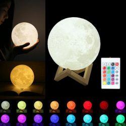 Луну лампа ночного света 3D-печати Moonlight Timeable индикатор яркости аккумуляторы прикроватном столике настольная лампа Dropship