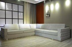 Preiswertes Sofa-Ecken-Sofa-hölzernes Sofa-graues Samt-Sofa mit Metallbein-Möbeln