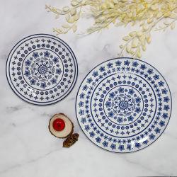 파란과 백색 사기그릇 가정 훈장을%s 주문 장식적인 세라믹 사기그릇 격판덮개