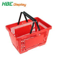 Cestino di acquisto di plastica personalizzato supermercato della mano di marchio doppio