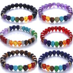 Pietra naturale colorato Chakra energia bracciale Accessori moda Gioielli