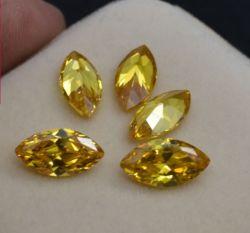 6*12mm de large coupe synthétique Stock Marquise jaune foncé pour CZ Seting CZ pierres Bijoux