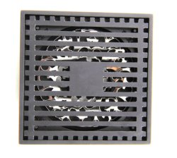 Praça de latão chuveiro tampa removível de drenagem no piso Hair Catcher filtrador, Acabamento com revestimento preto fosco Anti entupimento e o odor Orb Grelha de superfície de drenagem de 4 polegadas