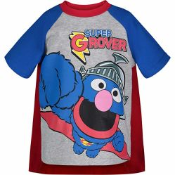 Baby-Kleid-Sesame StreetCaped der Supergrover-Kleinkind-Jungen T-Shirt mit einem Kap-Grau