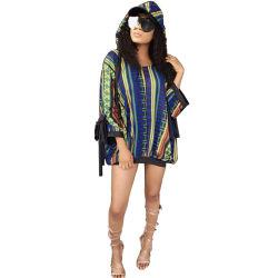 Camicia chiffona multicolore allentata a strisce casuale di Hoody