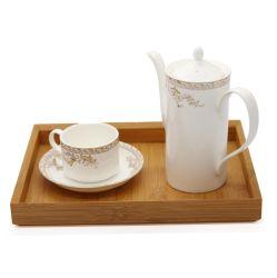 Retro ecológica la cocina de madera de bambú carbonizado de la bandeja de té