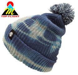 Le pliage brassard Tie Dye fils colorés nervure Pompom tricotés Beanie Hat