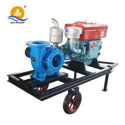 L'horizontale 20HP Mix moteur Diesel Débit de pompe à eau avec remorque mobile