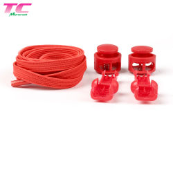 Venta caliente elástica plana sin atar cordones perezoso con cierre de plástico, Stock Shoelace Factory