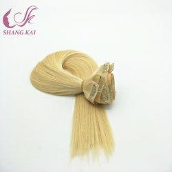 Großhandelspreis-blondes doppeltes brasilianisches einschlagMenschenhaar-nahtloser Klipp in der Haar-Extension
