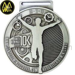 Prata metálico maratona 3D 5K executando Sports Awards Medalha de Troféus