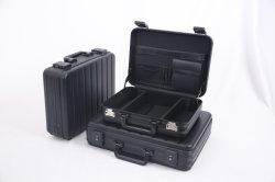 Portátil de color negro resistente al agua fuerte de seguridad completa caja de aluminio a prueba de golpes con cerradura de combinación