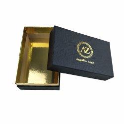 Retângulo preto papelão rígida caixa de embalagem de papel com base de ouro para HAT