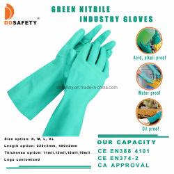 Grüne chemische beständige Diamant-strukturierte Sicherheits-Arbeitsnitril-Handhandschuh-Cer 4101 En374-2