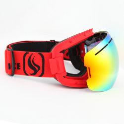 Cor dupla com Picture Frame óculos de neve lente ajustável e Alívio da Correia da lente