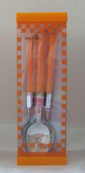 Zwei Farbe und zwei Hinweis Edelstahl Kunststoff Griff für Küchengeräte (BT05I)