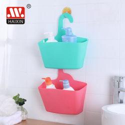 Almacenamiento de plástico de la canasta de gancho para colgar de la pared baño Shampo titular