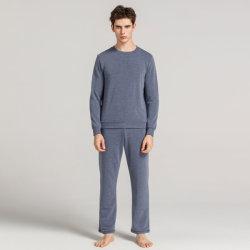 Kundenspezifische Mann-Baumwollebenen-lange Hülsen-Pyjamas
