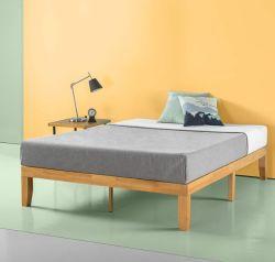 14 inch platformbed/geen boxspring nodig/houten ondersteuning voor latten/natuurlijke afwerking, kingsize bed