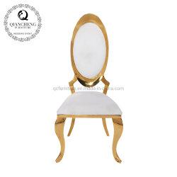 Hotel barato moda oval de pintura de flores de volta simples Cadeira de jantar de Ouro