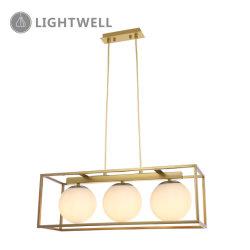 3LT современном стиле прямоугольник утюг подвесной светильник со стеклянными мяч в ресторане