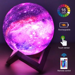 Amazon Hot Selling 16 colori Moon Lamp 15cm Stampa 3D Luce notturna 3D ricaricabile
