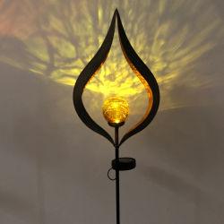 Muur grond hangende flikkerende vlammen vuurtork ijzer Zon Bloem Maan Angel Tree Leaf Shadow Ice Brick Design Solar Color LED Tuingazon Outdoor Decoration lamp