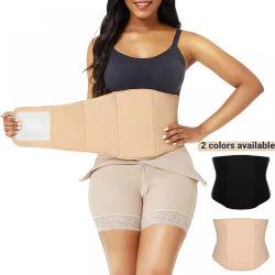 La mujer Body Shaper Beige de compresión de la recuperación posparto aplanamiento de la Junta Abdominal Faja Ab Junta tras la liposucción