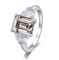 밝은 노란색 입방 지르콘 공상 반지를 삭감하는 925 순은 다이아몬드