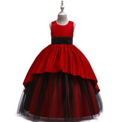 Kleid-Satin-Tuch-wulstige Prinzessin Long Girls Show Dress der Kinder
