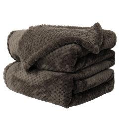 Piccocasa 연약한 온난한 양털 침대 담요 메시 Flannel는 여왕 커피를 덮는다