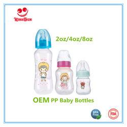 Il collo normale BPA libera la bottiglia di alimentazione di plastica del bambino in 2oz/4oz/8oz
