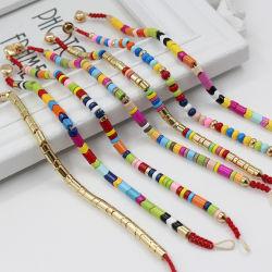 Mlgm Gold Alloy Jóias para senhoras na moda Bhemian Pulseiras de liga de esmalte esferas de tubo Golden Custom aceitar pulseiras por atacado