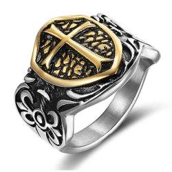 18K de goud Geplateerde Ring van het Roestvrij staal voor Retro Ontwerp van de Juwelen van de Ring van het Titanium van Templars van de Ridders van Mensen