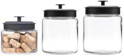3つのガラスの記憶の小さなかんのオートムギのためのガラス食糧記憶の瓶、キャンデー、クッキーのセット