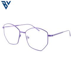 BV Blue Light Blocking glasses 현대적인 스타일의 둥근 스타일 안경 처방안경 컴퓨터 안경 광학 안경 자주색 금속 안경 프레임