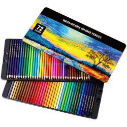 아트 서플라이, 틴박스의 72개 수채화 연필 세트, 그리기 색 연필, 색연필