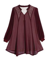 여성용 쉬폰 라운드 칼라 셔츠 긴팔 캐주얼 탑 여름을 위한 자수 레이디 베이글리 블라우스 셔츠