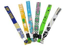 Custom Jacquard gewebte Polyester Stoff Armbänder mit Kunststoff-Clip
