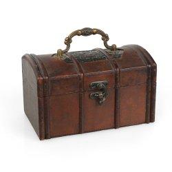 메탈 손잡이가 달린 장식 와인 레드 합판 보관 선물 상자