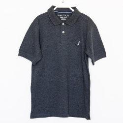 قميص بولو بشعار التطريز مصنوع من القطن 100% من رمادي داكن اللون