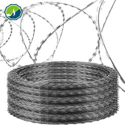 カミソリのベッドワイヤ / 亜鉛メッキ PVC コーティング Concertina Razor ワイヤ / ステンレススチール製バーベッド カミソリ用ワイヤ BTO-22/CBT-60 CBT-65/ フェンシングワイヤ